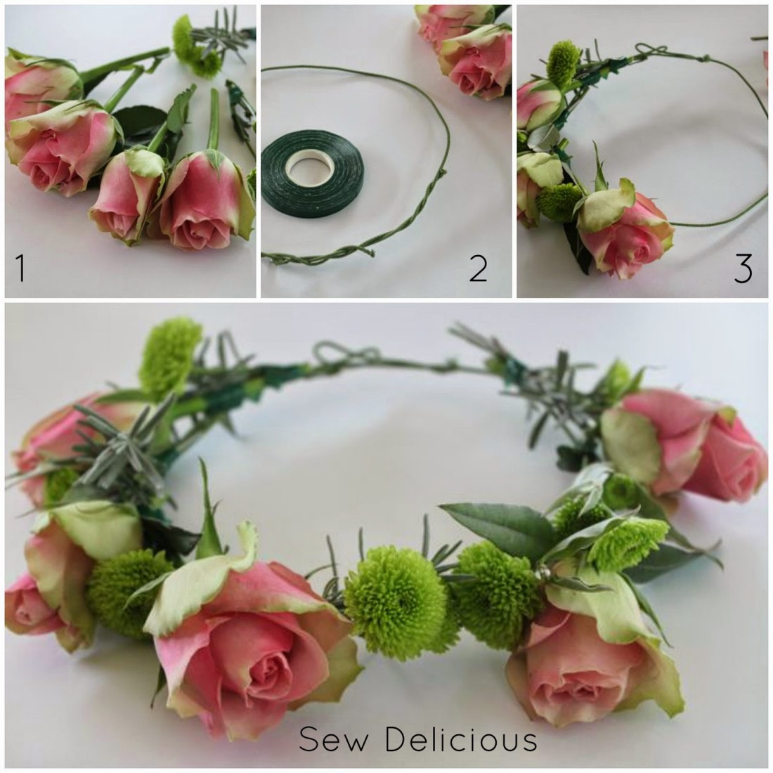Diy floral crown tutorial sew delicious diy floral crown tutorial izmirmasajfo