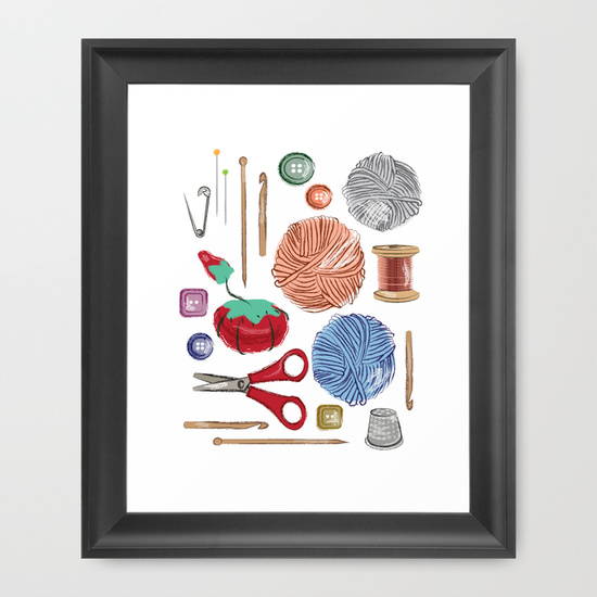 sewing framed art print