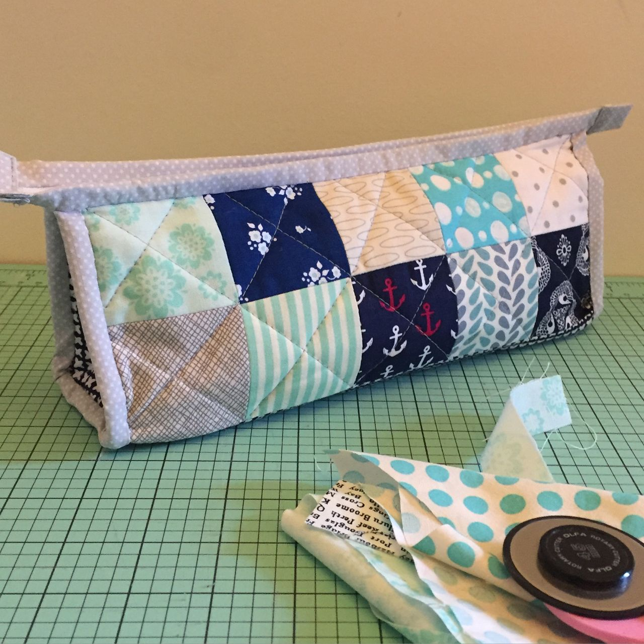 patchwork triangle pouch