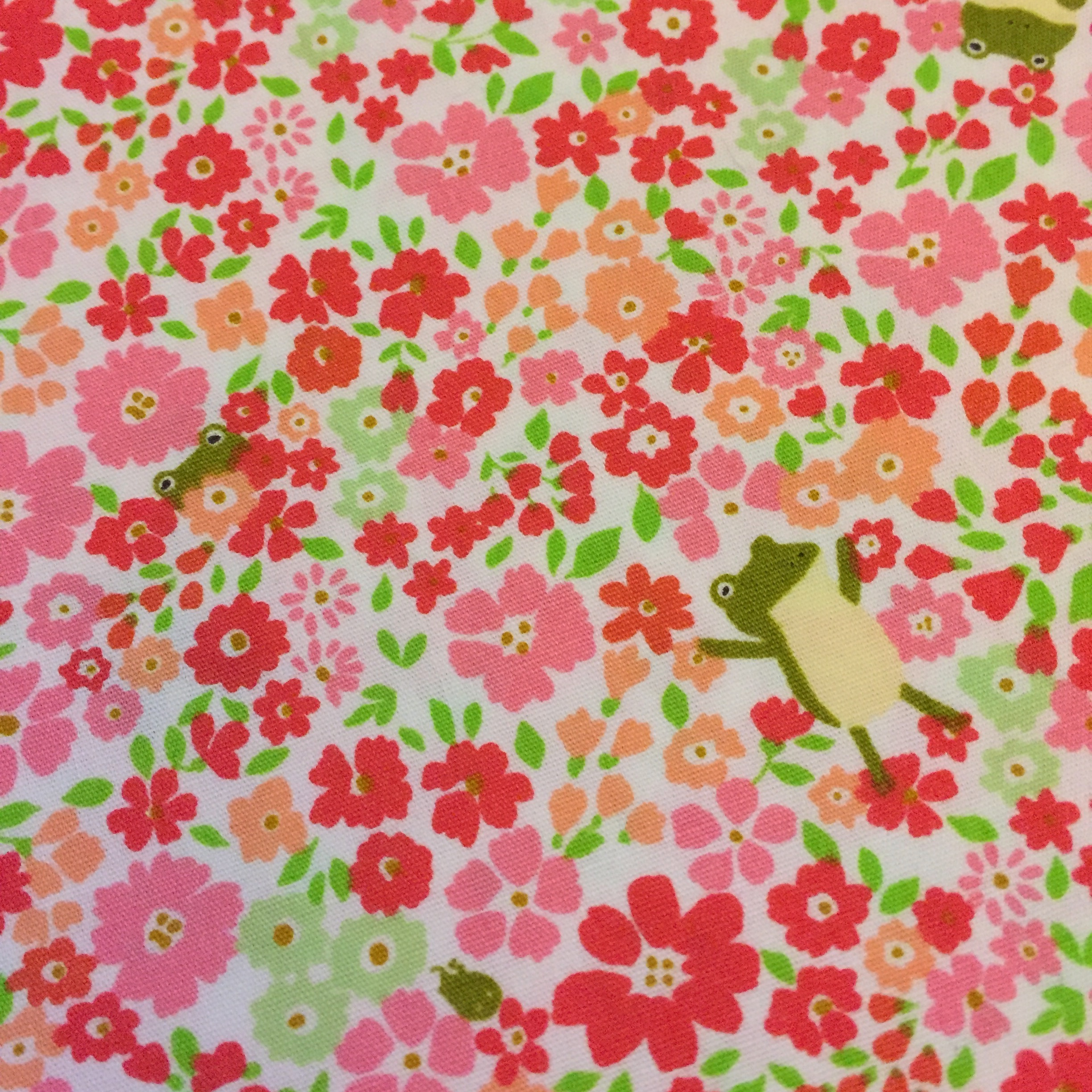 Frog floral fabric